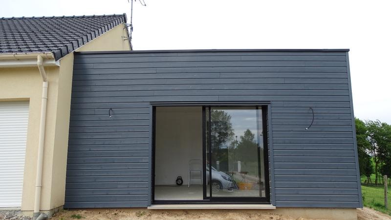 agrandissement ossature bois avec toiture terrasse