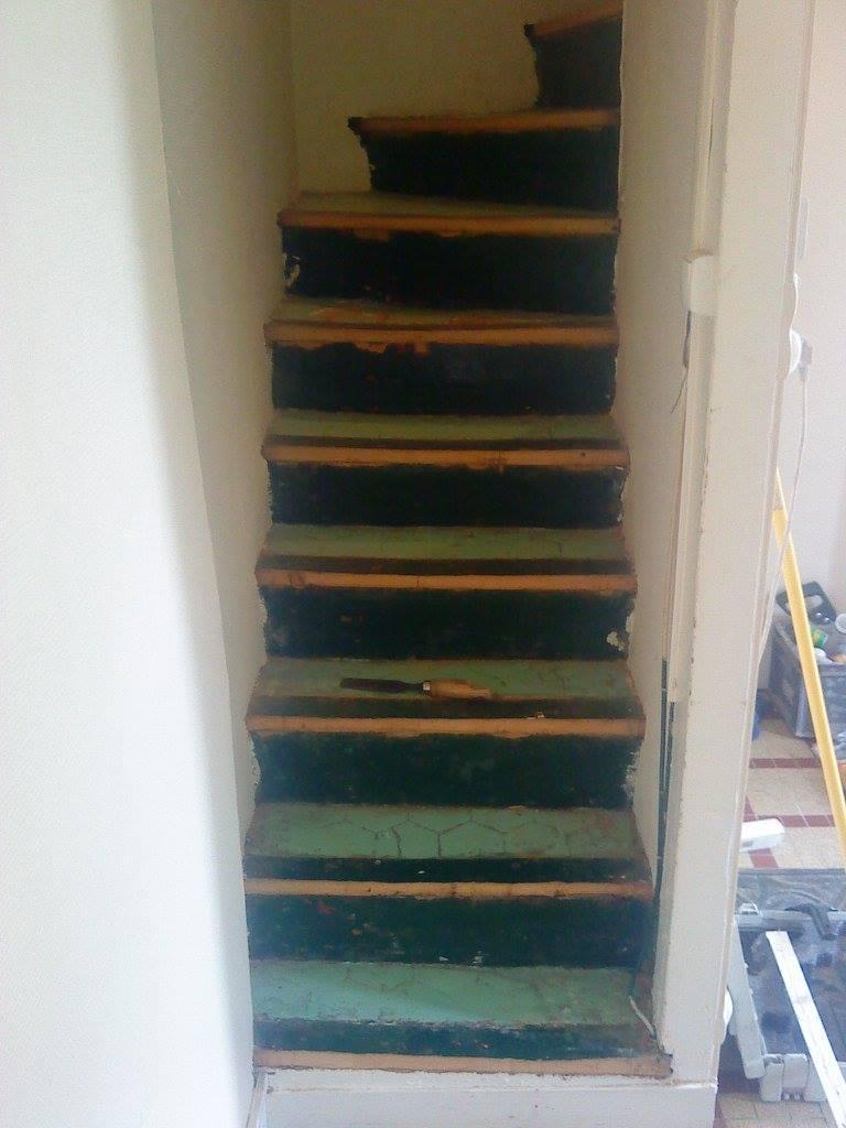 avant - la restauration d'un escalier